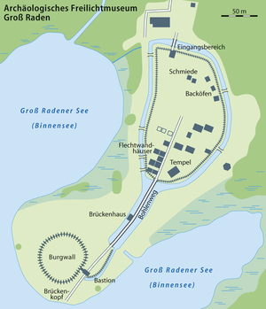Groß Raden Archaeological Open Air Museum - Map of the Groß Raden Open air Museum