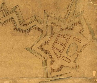 Kastellet, Copenhagen - The Citadel in 1648, with an enclosed dock