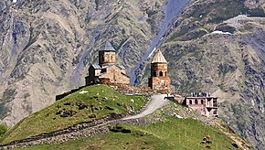 Khevi, Georgia — View of Gergeti Trinity Church.jpg