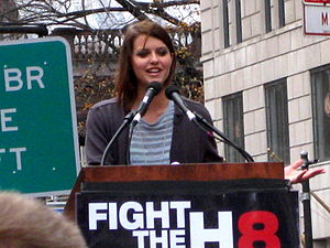 Kim Stolz - Kim Stolz at a 2008 Rally for equal marriage in New York City.
