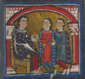 King Alphonse I-II the Chaste, sitting on his throne, receives the tribute of Galceran of Urtx and one of his men for the fortress of Naüja.png