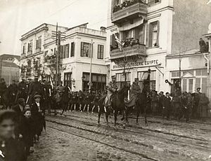 King George I of Greece and Crown Prince Constantine enter Thessaloniki, 1912.jpg