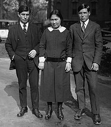 Danish/Greenlandic explorer Knud Rasmussen (1879-1933) with two Inuits, Mrs. Arnalulunguak & Mr. Meetek, on 3 November 1924