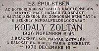 Kodály Zoltán emléktábla, Dózsa György utca, 2017 Nyíregyháza.jpg