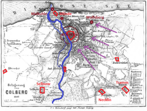 Plan of the siege. Purple: French trenches; dark areas around Kolberg: flooded and rubble of burned suburbs. Kolberg1807.png