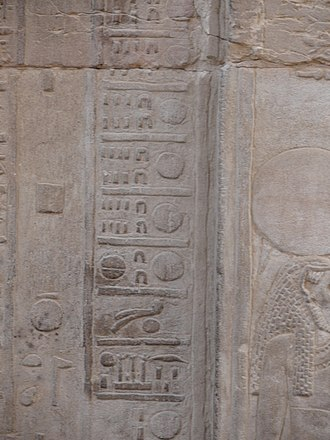 Temple of Kom Ombo - The calendar shows the figures for the days of the month (roll over the picture) and the hieroglyphs for the inundation season, Akhet. On the thirtieth of the Season of the Harvest, one can see the hieroglyph for the Season of the Emergence, which indicates the end of the harvest season. The next day is Akhet.