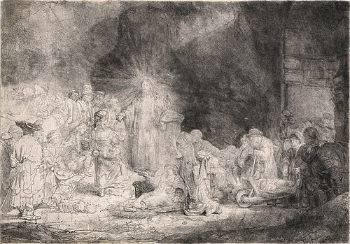Rembrandt van Rijn, Christ Healing the Sick, Hundred Guilder Print, unfinished (1649)