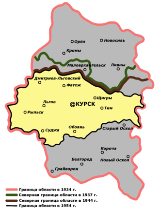 Kursk Oblast - Migration of borders of Kursk Oblast in 1934—1954