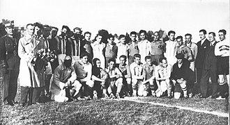 RFK Riga - Teams of Lithuanian football (soccer) club LFLS Kaunas and Latvian football (soccer) club RFK Riga. Friedly match RFK Riga-LFLS Kaunas 8:1 (3:1). Latvia, Riga, 15th of July 1929.