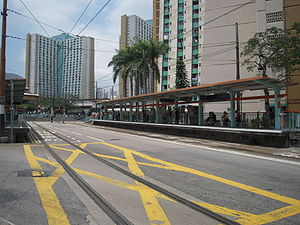 Street running - Light Rail tracks along Tai Fong Street, Tai Hing Estate, Tuen Mun