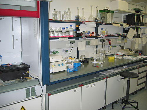 Laboratory, Institute of Biochemistry, University of Cologne in Germany. Lab bench.jpg