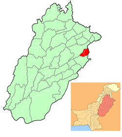 Location of Lahore (in red) in Punjab, Pakistan and (inset) Punjab in Pakistan