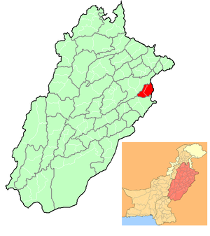 English: Location of Lahore, in Punjab.