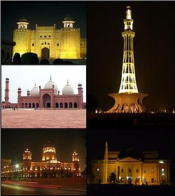 Clockwise from top: Kim's Gun, Badshahi Mosque, Samadhi of Ranjit Singh, Lahore Museum, Shalimar Gardens, Lahore Fort and Minar-e-Pakistan