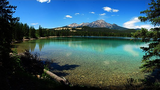 This is a shot of Lake Edith in Jasper National Park Alberta, Canada.