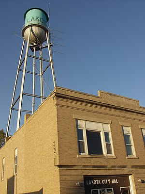 Lakota, North Dakota - Water Tower behind Lakota City Hall.