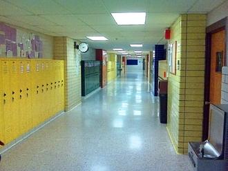 Langley High School (Fairfax County, Virginia) - Lockers in a Langley High School hallway