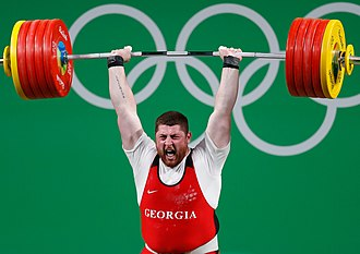 Olympic weightlifting - Olympic lifter Lasha Talakhadze lifting 258 kg at the 2016 Olympic games in Rio