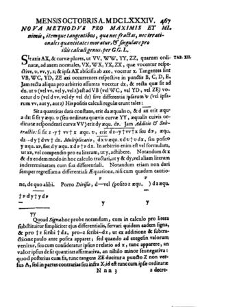 """Nova Methodus pro Maximis et Minimis - First page of the """"Nova Methodus pro Maximis et Minimis"""", Acta Eruditorum, October 1684"""