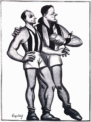Australian rules football in popular culture - Len Reynolds' caricature of The Coventrys of Collingwood: Syd and Gordon Coventry, ca. 1930
