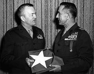 Herman Nickerson Jr. - Nickerson receives his three-star flag during his promotion to lieutenant general by Commandant Leonard F. Chapman Jr., March 1968.