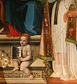 Leonardo Malatesta, Madonna col Bambino tra i santi Pietro, Sebastiano, Cosma, Silvestro e Giovannino, 1518, 10.jpg