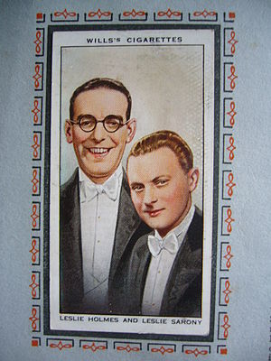 Leslie Sarony - A Wills' cigarette card from the 'Radio Celebrities' series c. 1934-Sarony on right
