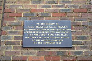 Levellers - Commemoration plaque for two Levellers in Gloucester Green, Oxford.