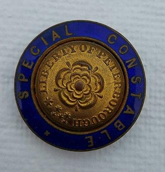 Liberty of Peterborough Constabulary - Image: Liberty of Peterborough Constabulary Special Constable Badge