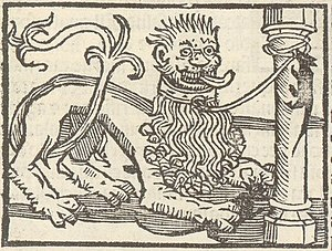 The Lion and the Mouse - Woodcut showing two scenes from the fable in the Ysopu hystoriado, Seville 1521