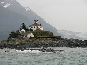 Haines Borough, Alaska - Image: Lighthouse on Eldred Rock, Alaska