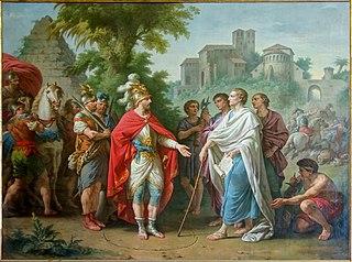 Popilius envoyé en ambassade auprès d'Antiochus Epiphanes pour arrêter le cours de ses ravages en Egypte
