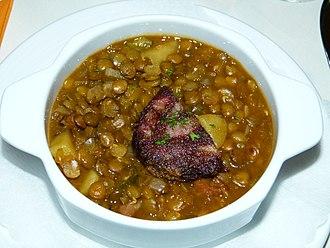 Lentil soup - A German lentil soup with blood sausage