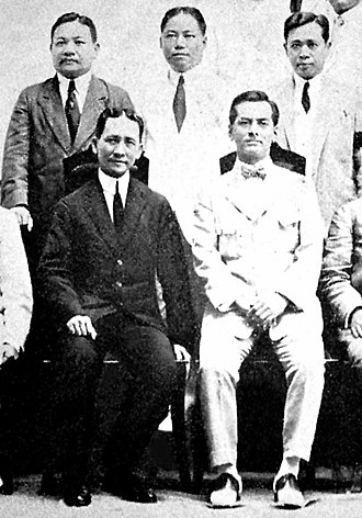 Francisco Tongio Liongson - Philippine Political Leaders (Circa 1919): Sen. Francisco Tongio Liongson (far left) with Speaker Sergio Osmeña, Senate President Manuel Quezon and Independence Mission member Claro Recto.