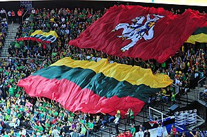 Flag of Lithuania - State flag (upper) and the national flag, displayed by the Lithuanian basketball fans in 2011.