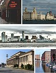 A montage of several pictures showing a western city near water.