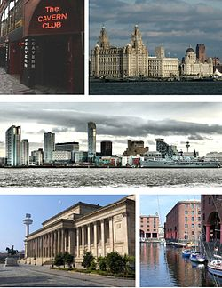Med klokka frå øvst til venstre: Cavern Club, Three Graces i Pier Head (Liver Building, Cunard Building og Port of Liverpool Building), horisonten i handelsdistriktet til Liverpool, Albert Dock og St George's Hall