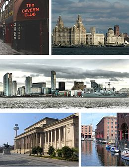 Fan lofts boppe, mei de klok mei: de Cavern Club, de Three Graces of the Pier Head (it Liver Building, Cunard Building en Port of Liverpool Building), silhûet fan Liverpool's sakedistrikt, it Albert Dock en St George's Hall