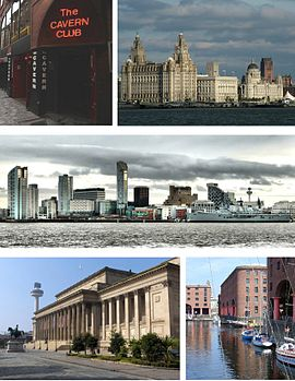 În sensul acelor de ceasornic din stânga sus: Cavern Club, Three Graces de la Pier Head (Liver Building, Cunard Building și Port of Liverpool Building), panorama districtului comercial al Liverpool, Albert Dock St George's Hall