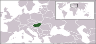A map showing the location of Hungary