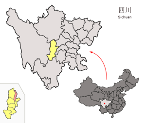Lushan County, Sichuan - Image: Location of Lushan within Sichuan (China)