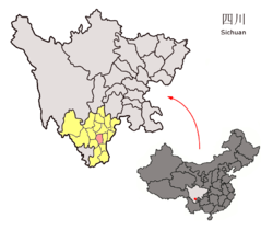 Location of Puge County (red) within Liangshan Prefecture (yellow) and Sichuan