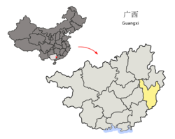 Location o Wuzhou Prefectur athin Guangxi