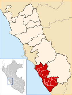 Location of Cañete in the Lima Region