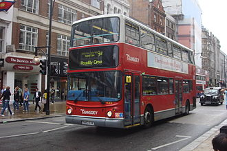 London Buses route 94 - London United Alexander ALX400 bodied Dennis Trident 2 on Oxford Street in July 2010