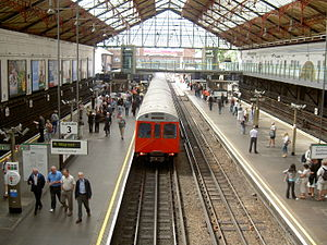 Royal Borough of Kensington and Chelsea - A London Underground train departing from Earl's Court station