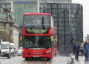 London United Busways - Scania OmniCity on route 148 on Westminster Bridge in June 2011