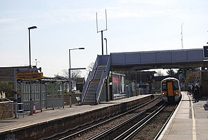 Rainham (Kent) railway station - Image: London train pulls into Rainham Station geograph.org.uk 1241933