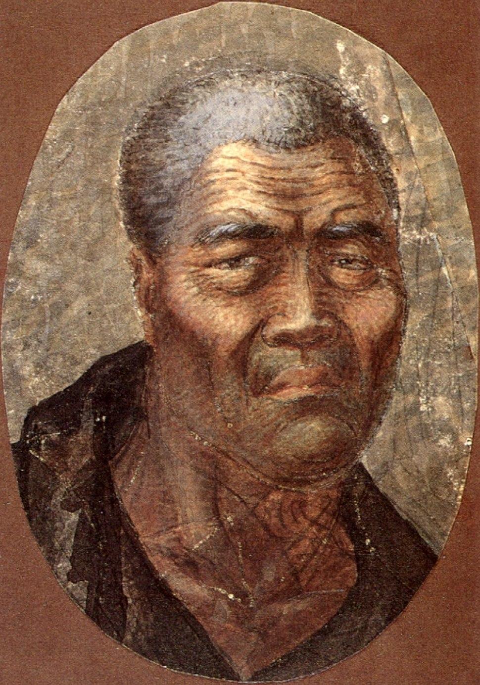 Louis Choris (1795-1828) - Kamehameha, King of the Sandwich Islands by Louis Choris, (Russian), pen and watercolor