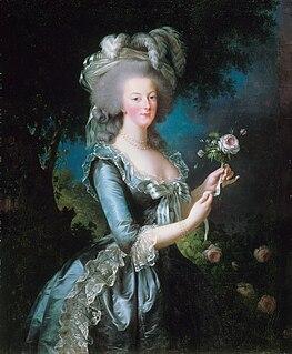 <i>Marie Antoinette with a Rose</i> Painting by Élisabeth Vigée Le Brun